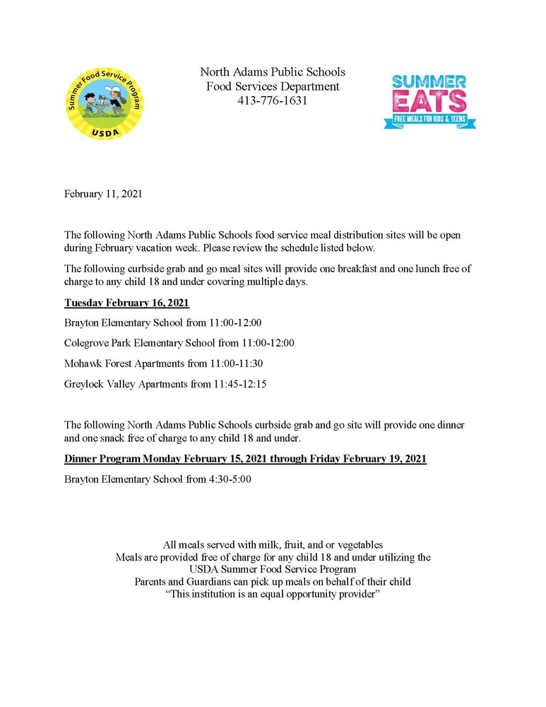 Food Services: February Vacation and In-Classroom Menus